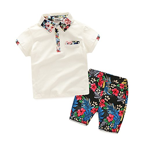 Kimocat Summer Casual Clothing Set Floral Printed Short Sleeve and Short Pants for Boys (White, -