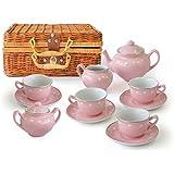 Children's 13 Pc Pink Porcelain Play Tea Set with Wicker Basket