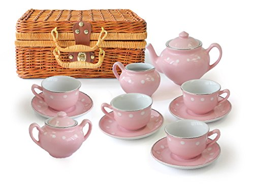MMP Living Children's 13 Piece Porcelain Play Tea Set with wicker style basket - Pink by MMP Living