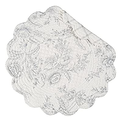 "C&F Home, Clementina Print Reversible Round Quilted Placemats 17"", Cement Gray, Set of 4 - C & F Enterprises (4) Round Quilted Placemats Clementina Print - placemats, kitchen-dining-room-table-linens, kitchen-dining-room - 51UAL0QkFFL. SS400  -"