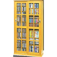Leslie Dame MS-700 Mission Multimedia DVD/CD Storage Cabinet with Sliding Glass Doors, Oak