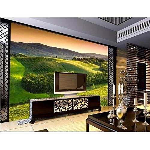 LSFHB 3D Room Wallpaper Custom Mural Non-Woven Wall Sticker Green Forest Hill Painting Photo 3D Tv Background Wall Murals Wallpaper-280X200Cm -