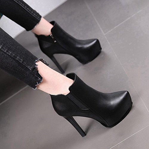 Boots Heels High High Winter Heels Black Cashmere Heel Side Women Top MDRW Short Boots Martin Zipper Suede Thin New 12Cm Waterproofing qBFH1xT