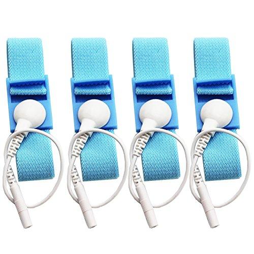 (Adjustable Estim Wrist Strap Components 4pcs Blue Stim Loops 4pcs White Wires)