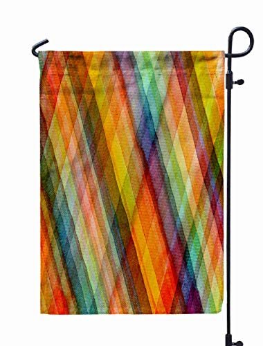 HerysTa Garden Flag Stand, Decorative Yard Farmhouse Holiday Banner 12 x 18 inches Abstract Tartan Watercolors Colors Wet Dry Paper Double-Sided Seasonal Garden Flags ()