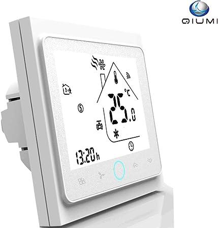 Qiumi Thermostat Wifi intelligent RondeThermostat deau programmable Wifi Contr/ôleur de temp/érature daffichage LCD Compatible avec Alexa Google Home IFTTT 5A