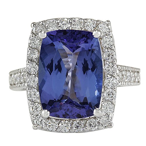 (6.74 Carat Natural Blue Tanzanite and Diamond (F-G Color, VS1-VS2 Clarity) 14K White Gold Luxury Cocktail Ring for Women Exclusively Handcrafted in USA)