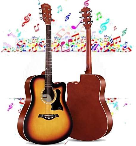 アコースティックギター GDMING フルサイズ クラシックギター アダルトギター 初心者キット と ギグバッグ、 文字列、 ピック、 吊り革、 カッタウェイギターセット 運ぶ マット 日没 と 黒 (Color : Metallic, Size : 41 inches)
