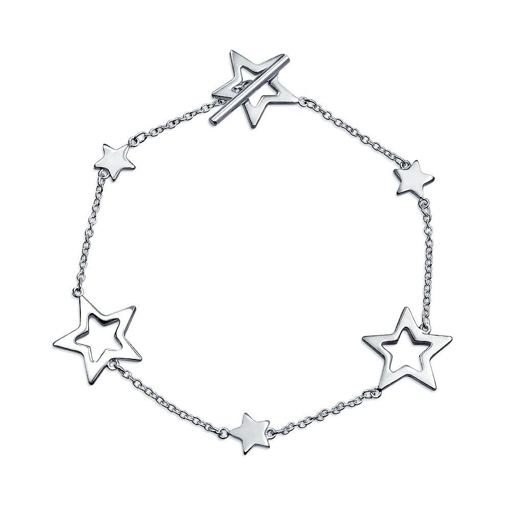 Bling Jewelry Sterling Silver Stars étoiles Bracelet solide découpe bascule 75in CL-B6-BJ