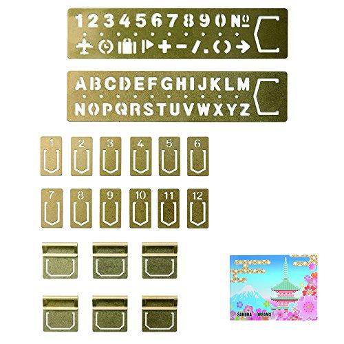Midori Brass BUNDLE SET / Template Bookmark , Number ( 42168006 ) (Titanium Nitride Bullet Pen)