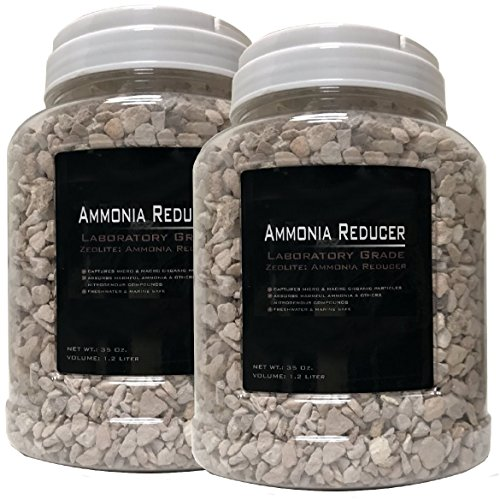 2 Pack 35 ounce (Total 70oz.) -Premium Laboratory Grade Zeolite Ammonia Reducer with Free Media Bag Inside Each Jar (2 Pack - 35oz. [70oz.])
