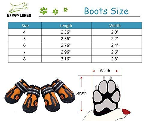 EXPAWLORER Waterproof Dog Boots for Paw Protection - Reflective Non Slip Dog Shoes for Small to Large Dogs