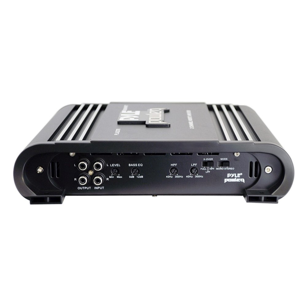 2000W Dual Channel Bridgeable High Power MOSFET Audio Sound Auto Small Speaker Amp Box w// Crossover Silver Plated RCA Input Output Pyle PLA2378 Sound Around 2 Channel Car Stereo Amplifier Bass Boost Control
