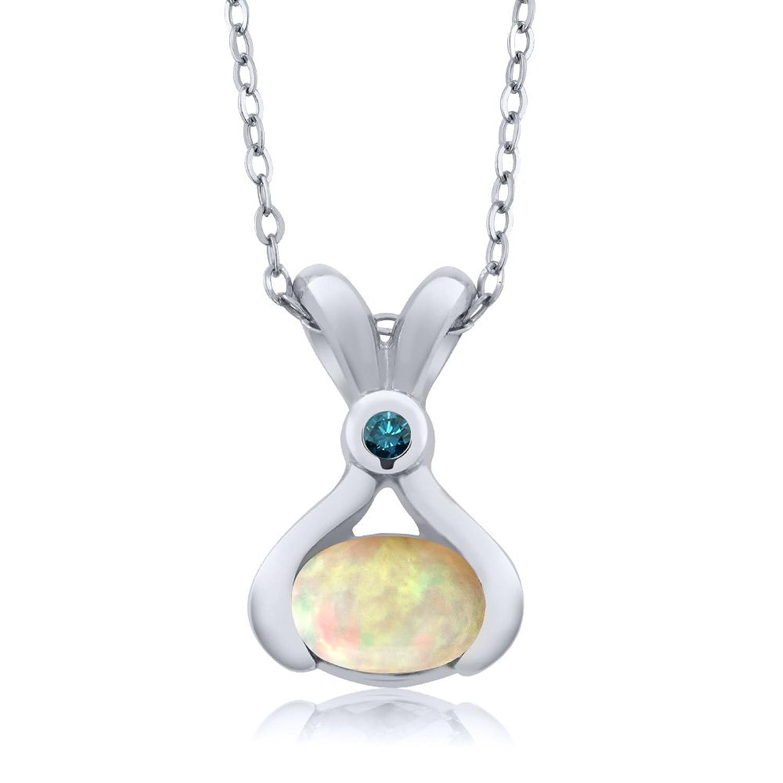 0.54 Ct Oval Cabochon White Ethiopian Opal Blue Diamond 925 Silver Pendant