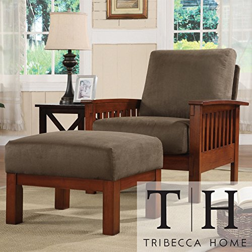 Metro Shop TRIBECCA HOME Hills Mission-style Oak/ Olive Chair and Ottoman