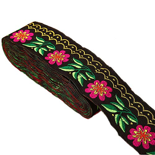 7 Yards 2 5/8inch Daisy Leaves on Waves Jacquard Ribbon Floral Embroidered Woven Trim for Embellishment Craft Supplies (Black)