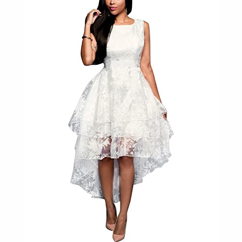 Dora Bridal Women's Hi-lo Organza Sweet 16 Prom Dresses White High low Evening Gown
