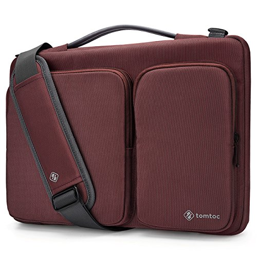 Tomtoc 14 - 15 Inch Laptop Shoulder Bag, 360° Protective Laptop Sleeve for 15 Inch New MacBook Pro Touch Bar 2017 & 2016 (A1707) | Dell XPS 15 | 14 Inch ThinkPad Chromebook Notebook Tablets, Burgundy