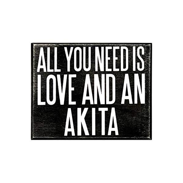 JennyGems - All You Need is Love and an Akita - Wooden Stand Up Box Sign - Akita Gift Series, Akita Moms, Akita Lovers, American Akita, Japanese Akita, Akita Inu, Akitas, Shelf Knick Knacks 2