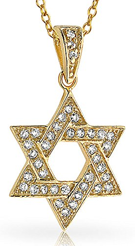 Cubic Zirconia CZ Hanukkah Magen Jewish Star Of David Pendant Necklace For Women 14K Gold Plated 925 Sterling Silver