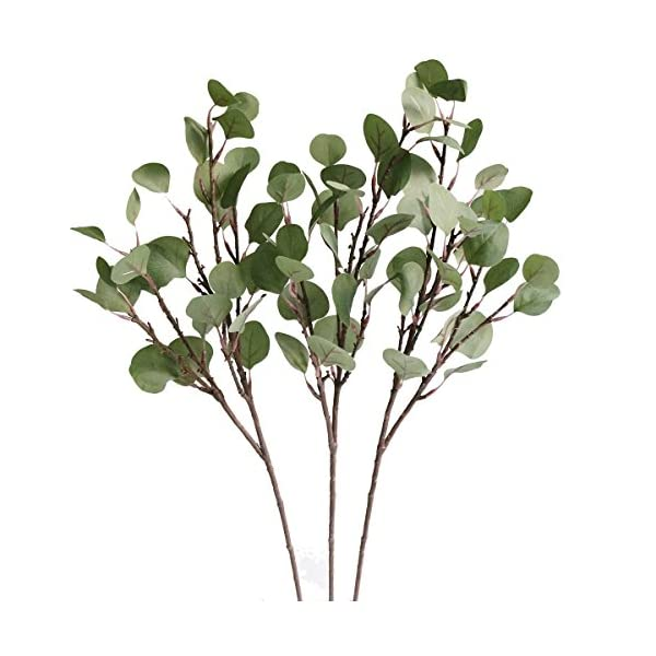 Jasming Artificial Eucalyptus Silver Dollar Greenery Frosted Bouquet Filler Faux Flowers for Floral Crown Spring Summer Decor (3pcs)