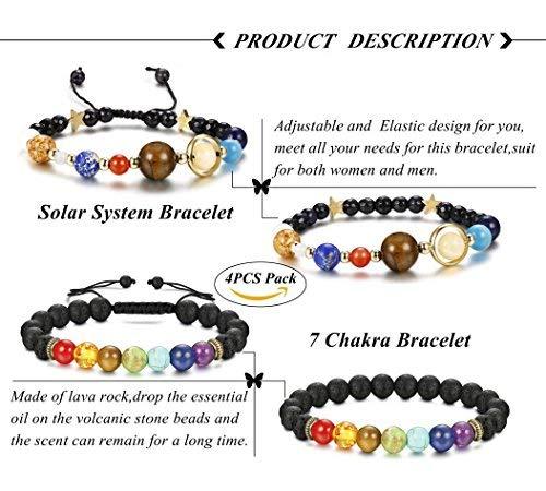 Finrezio 4 Pcs Bead Bracelets for Women Men Solar System & Chakra Stone Diffuser Bracelets Set Aromatherapy Yoga Bracelet 8MM Beaded