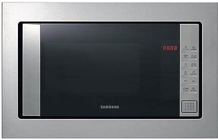 Samsung FG87SST/XEC - Microondas de integración / encastre con grill, 800W/1100W, 23 litros, interior cerámico, acero inoxidable, sistema de ondas ...