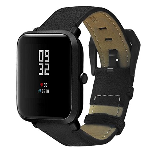 Price comparison product image Xiaomi Huami Amazfit Bip Youth Leather Bands,  Boofab 20mm Genuine Leather Watch Band with Metal Buckle Strap Replacement Wristbands for Xiaomi Huami Amazfit Bip Smartwatch Accessories (Black)