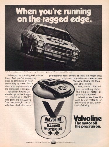 Cale Yarborough Nascar (1973 Valvoline Oil Cale Yarborough In Junior Johnson Chevrolet NASCAR Vintage Original Magazine Print Ad)