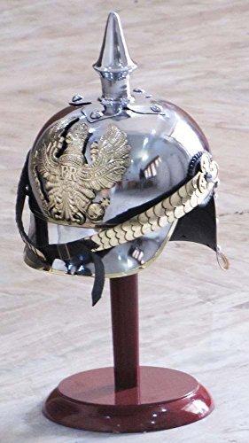 Shiv Shakti Enterprises World War I & II Pickelhaube German Steel Helmet Brass Accents Prussian Officer Spike Helmet]()