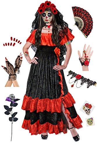 Dia de los Muertos Plus Size Halloween Costume Deluxe Kit - Veil Plus Size Velvet