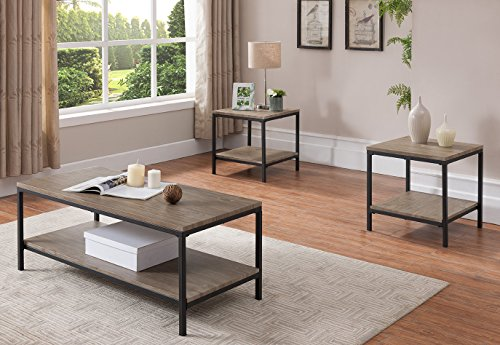 Gray/Black Occasional Table Set, Coffee Table & 2 End Tables ()