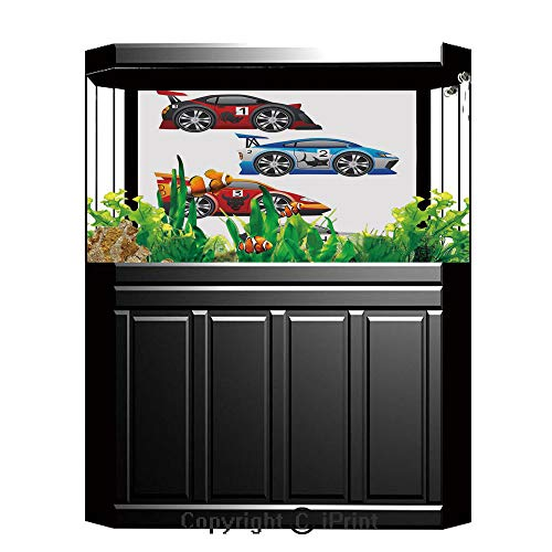 Terrarium Fish Tank Background,Cars,Collection of Formula Race Cars Modern Mechanical Technology Automotive Championship,Multicolor,Photography Backdrop for Pictures Party ()