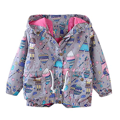 iYBUIA Spring Autumn Children Kid Boys Girls Cartoon Graffiti Print Trench Jacket Outwear Coat(Gray,100) -