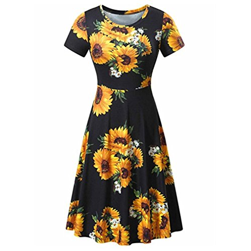 UOKNICE Women Floral Printed Short Sleeve Summer A Line Casual Swing Dress