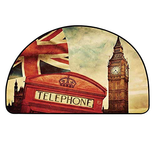 YOLIYANA London Semi Circle Mat,Vintage Style Symbols of London with National Flag UK Great Britain Old Clock Tower Decorative Carpet Indoor Mat,17.7