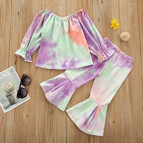 Toddler Baby Girl Tie Dye Clothes Off Shoulder Ruffle Shirts Tops & Bell Bottom Pants Outfits Set