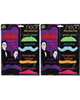 Mustache Party Pack - 12 Neon Color Fake Mustaches Moustaches