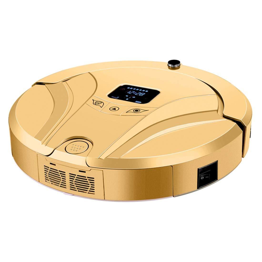 コードレスクリーナー ロボット掃除機、超薄型、1200Pa強力吸引、静かな、自己充電式のロボット掃除機、中層のカーペットに固い床を掃除する フロア掃除機 (色 : ゴールド) B07S48N89F ゴールド
