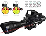 MidTen Tactical Rifle scope 4-16x50 Illuminated Reticle with Dot Sight Green Laser sight