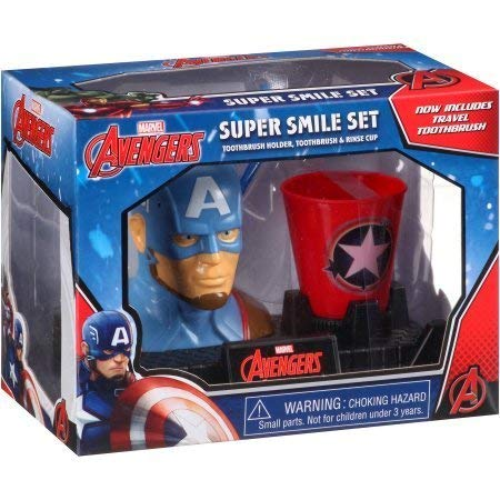 Captain America Super Smile Set Toothbrush Holder, Toothbrush, & Rinse Cup by Sanrio, Leonardo, Captain America (Image #1)