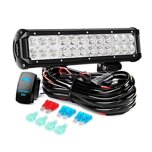 Nilight LED Light Bar 1PC 12Inch 72W Spot Flood Combo Led Of