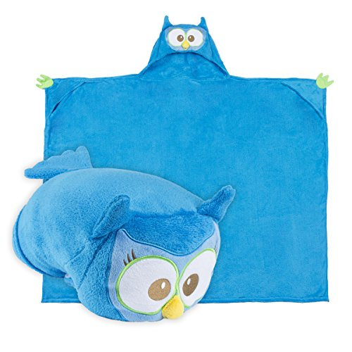 Comfy Critters Stuffed Animal Blanket –Last Chance Characters – Kids huggable pillow and blanket perfect for the big game, tailgating, and much more (Critter-Owl) (Blanket Owl Plush)