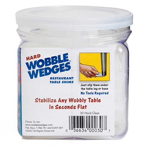 Wobble Wedge - Hard Clear - Restaurant Table Shims - 30 Piece Jar by WOBBLE WEDGES (Image #2)