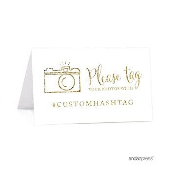 andaz press personalized hashtag table tent place cards double sided gold glitter print - Custom Place Cards