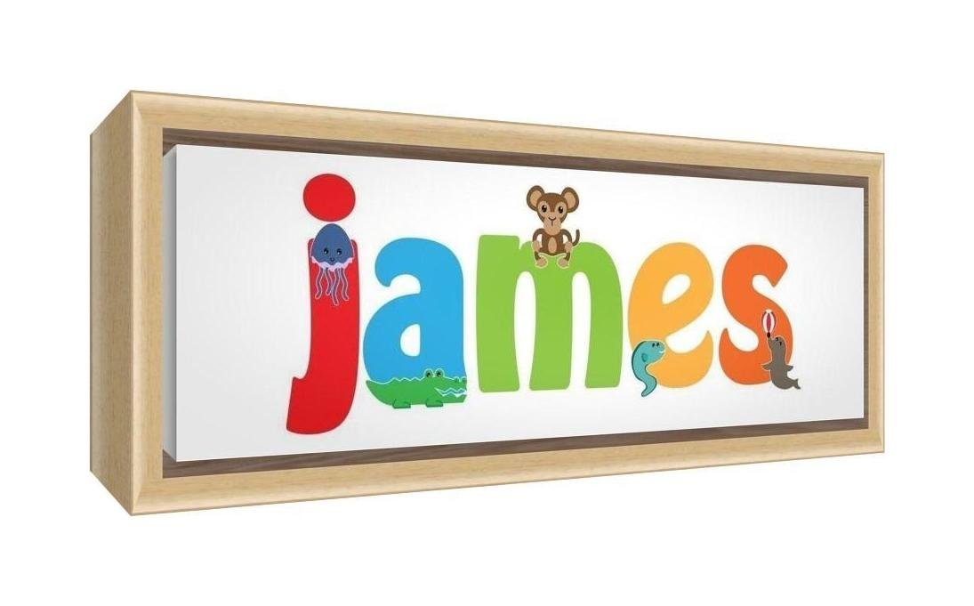 Feel Good Art Framed Box Canvas with Solid Natural Wooden Surround in Cute Illustrative Design Boy's Name (19 x 46 x 3 cm, Small, James) LHV-JAMES1542-FCNAT-15