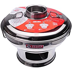 "Zebra 142323 Stainless Steel Mongolian Hot Pot with Handle, 91/2"", Silver"