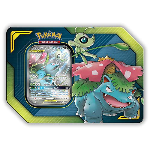 Pokemon Tag Team Tin Celebi & Venusaur-GX- TCG: Sun & Moon Box- 4 Booster Packs + 1 Foil Art Celebi & Venusaur-GX Foil Card (Best New Pokemon Sun And Moon)