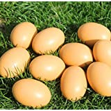 Yunko 6Pcs Wooden Faux Fake Eggs Easter Eggs Get hens to lay eggs Children Play Kitchen Game Food Toy - Log Color