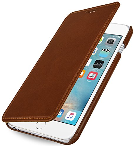 "StilGut Book Type Case ohne Clip, Hülle aus Leder für Apple iPhone 6 Plus & iPhone 6s Plus (5.5""), cognac"